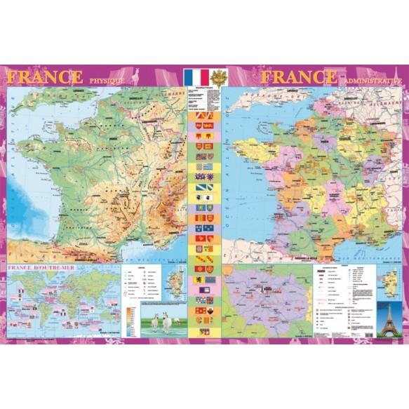 France Физическая карта Политико-административная карта м б 1: 1500000 на планках