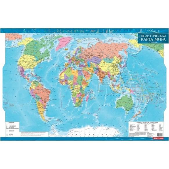 Політична карта світу, ламінована, на планках (рос)
