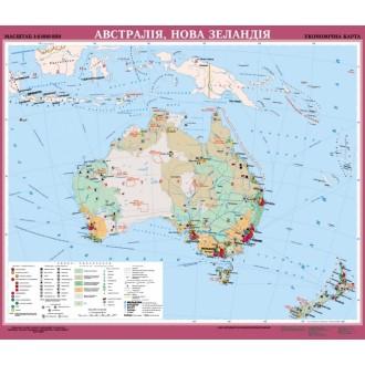 Австралия Новая Зеландия Экономическая карта м б 1: 6000000 на планках