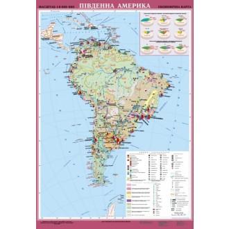 Южная Америка Экономическая карта м б 1: 8000000 на планках