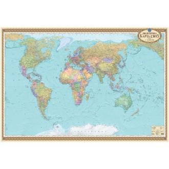 Політична карта світу офісна м-б 1:22 000 000 (на картоні та планках)