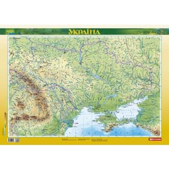 Україна Фізична карта Ламінована, на планках