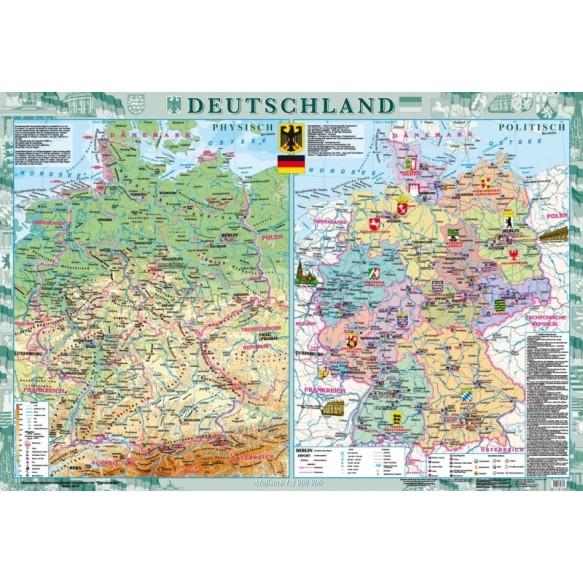 Deutschland Физическая карта Политико-административная карта м б 1: 1000000