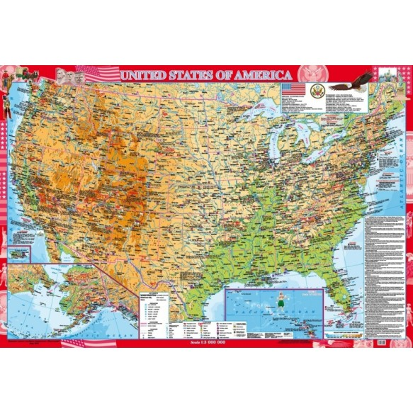 United States of America Физическая карта м-б 1:3 000 000