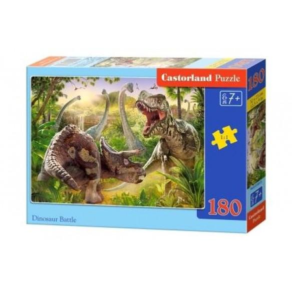 Пазлы 180 деталей Бой динозавров